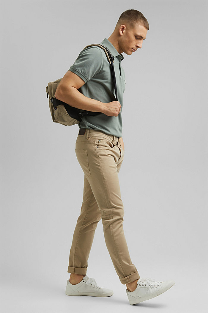 Slim-fitting stretch trousers made of organic cotton