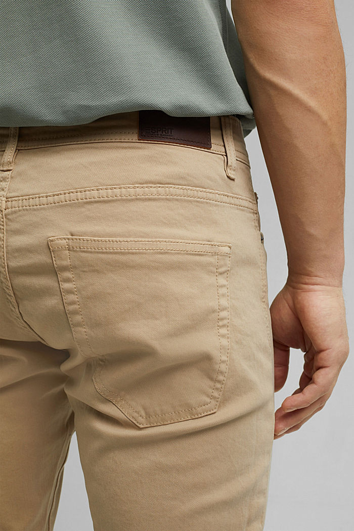 Slim-fitting stretch trousers made of organic cotton, BEIGE, detail image number 4