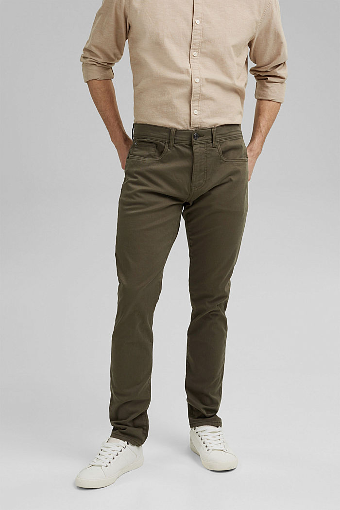 Slim-fitting stretch trousers made of organic cotton, DUSTY GREEN, detail image number 0
