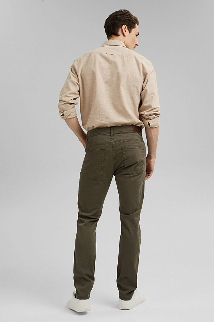 Slim-fitting stretch trousers made of organic cotton, DUSTY GREEN, detail image number 3
