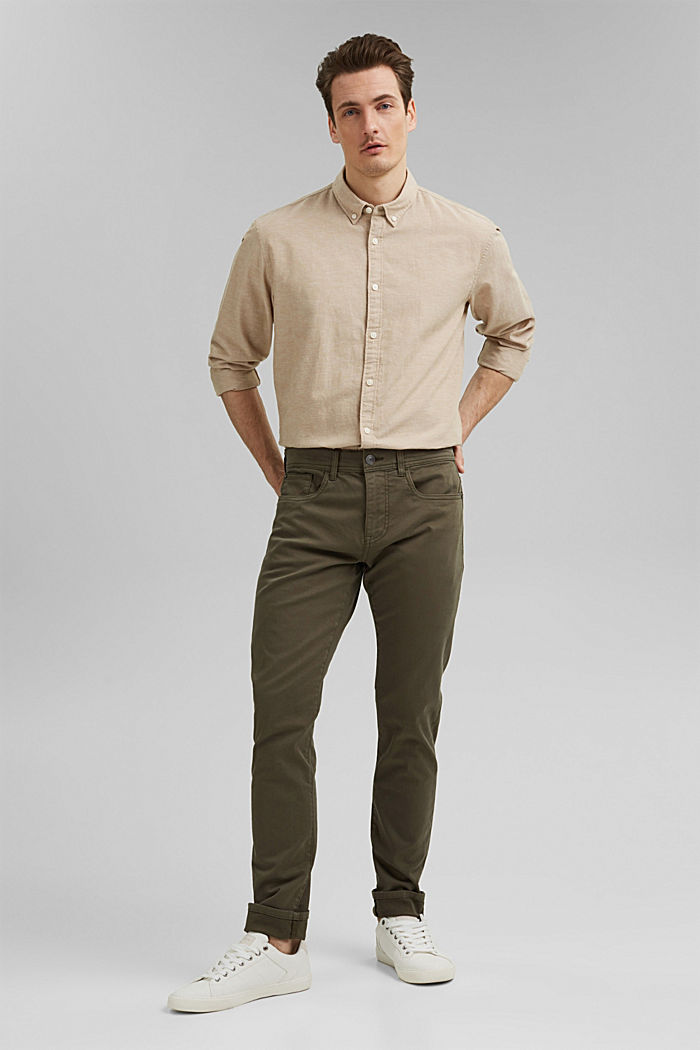 Slim-fitting stretch trousers made of organic cotton, DUSTY GREEN, overview