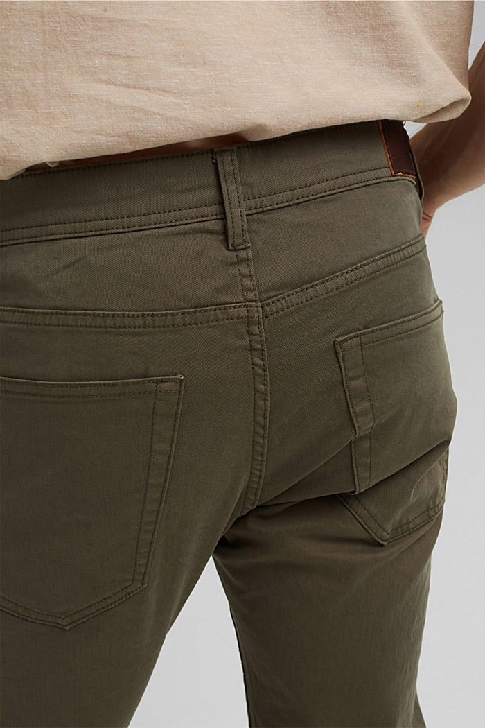 Slim-fitting stretch trousers made of organic cotton, DUSTY GREEN, detail image number 4