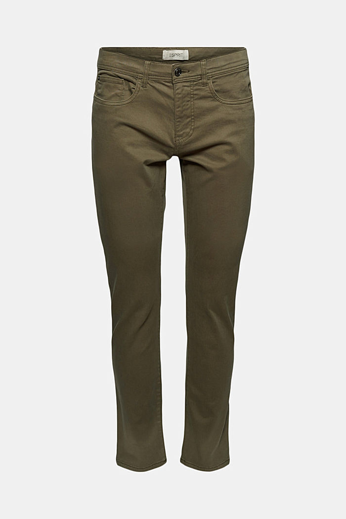 Slim-fitting stretch trousers made of organic cotton, DUSTY GREEN, detail image number 5