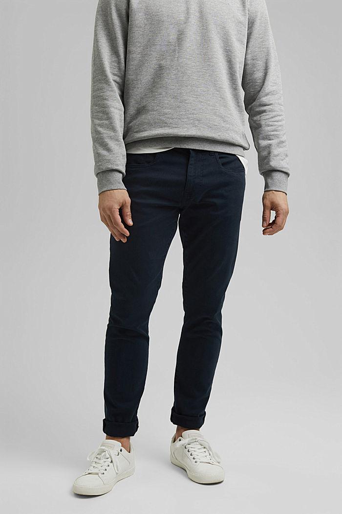 Schmal Stretch-Hose aus Organic Cotton, DARK BLUE, detail image number 0