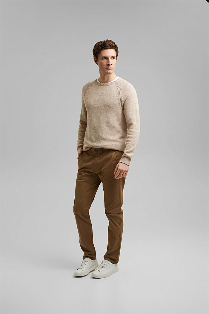 Stretch chinos in organic cotton, CAMEL, detail image number 5
