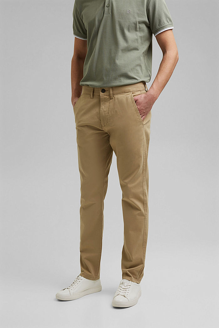 Stretch-Chino aus Organic Cotton, BEIGE, detail image number 0