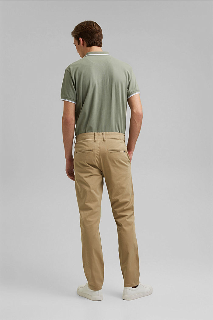 Stretch chinos in organic cotton, BEIGE, detail image number 3