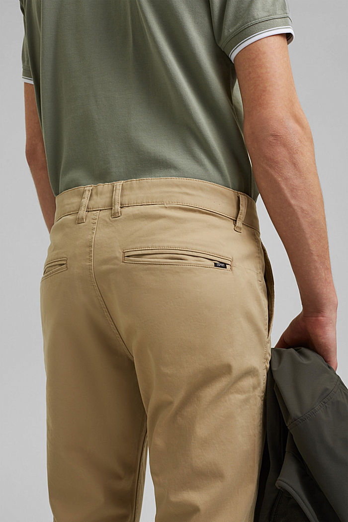 Stretch chinos in organic cotton, BEIGE, detail image number 5