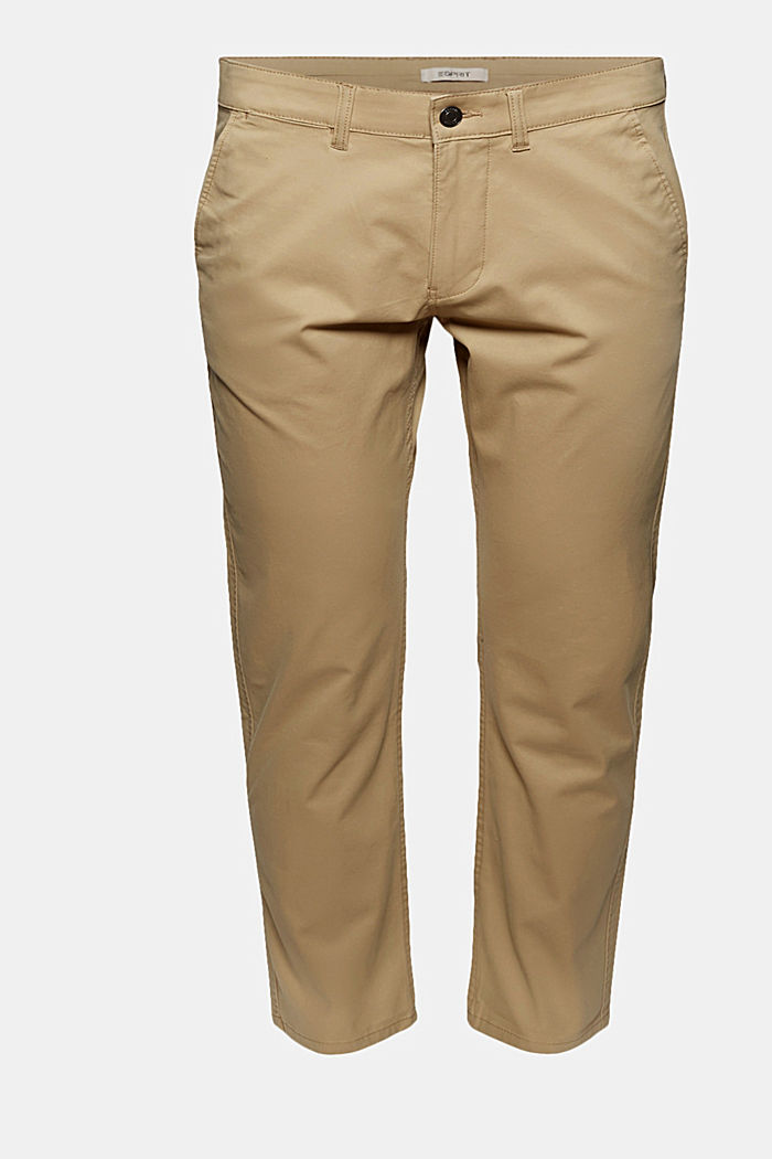 Stretch-Chino aus Organic Cotton, BEIGE, overview