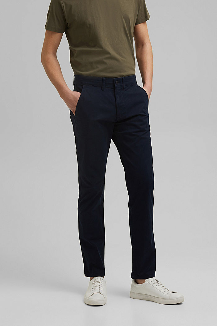 Stretch-Chino aus Organic Cotton, NAVY, detail image number 0