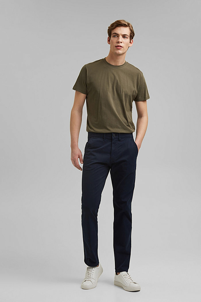 Strečové kalhoty chino z bio bavlny, NAVY, detail image number 6