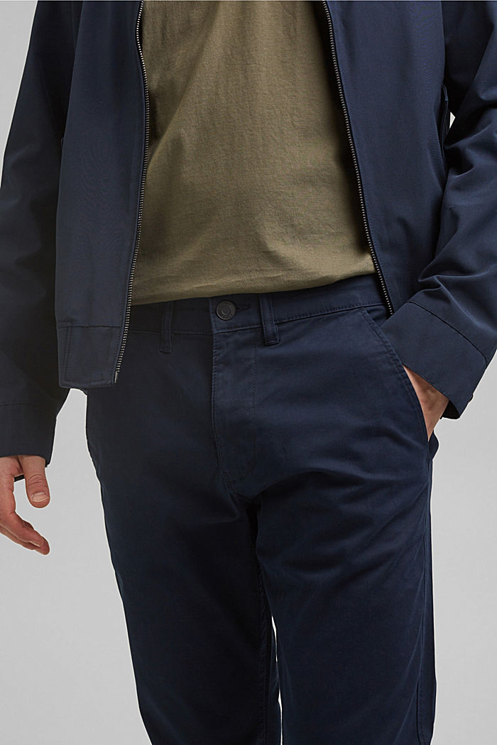 Stretch-Chino aus Organic Cotton, NAVY, detail image number 2