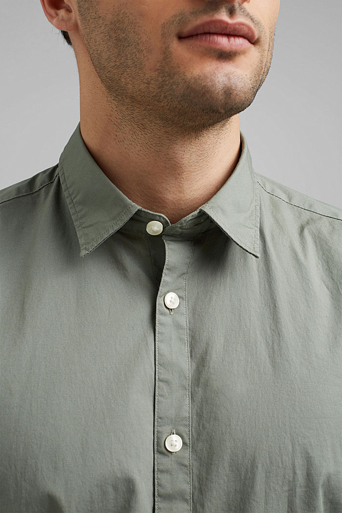 Poplin top in stretch cotton, LIGHT KHAKI, detail image number 2