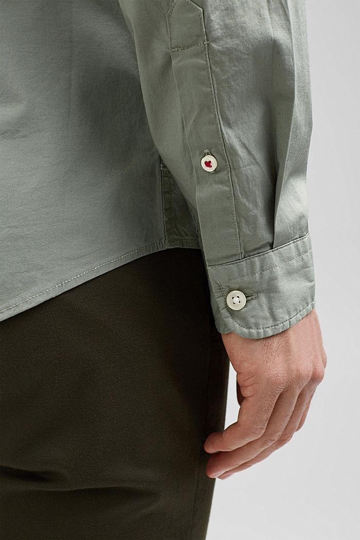 Popeline overhemd van katoen-stretch, LIGHT KHAKI, detail image number 5