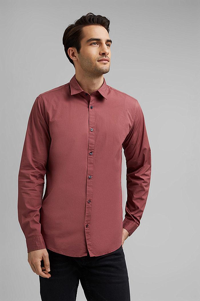 Koszula popelinowa z elastycznej bawełny, BERRY RED, detail image number 0