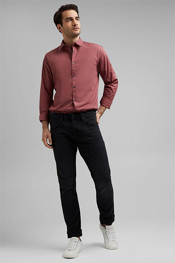 Koszula popelinowa z elastycznej bawełny, BERRY RED, detail image number 1