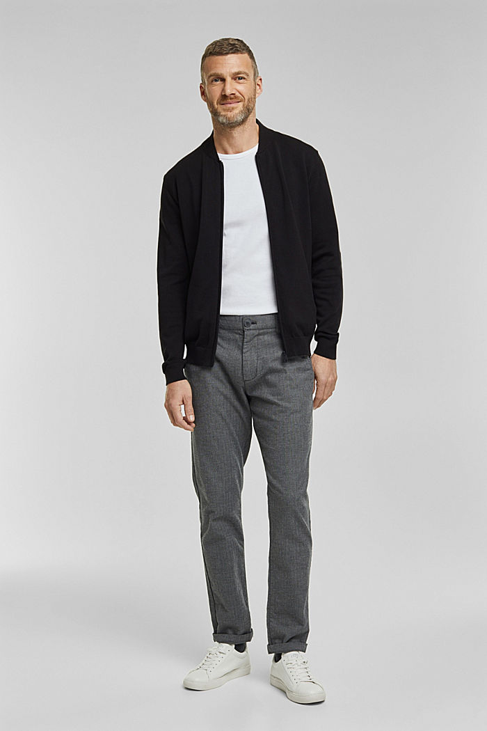 Strickjacke aus 100% Organic Cotton, BLACK, detail image number 1