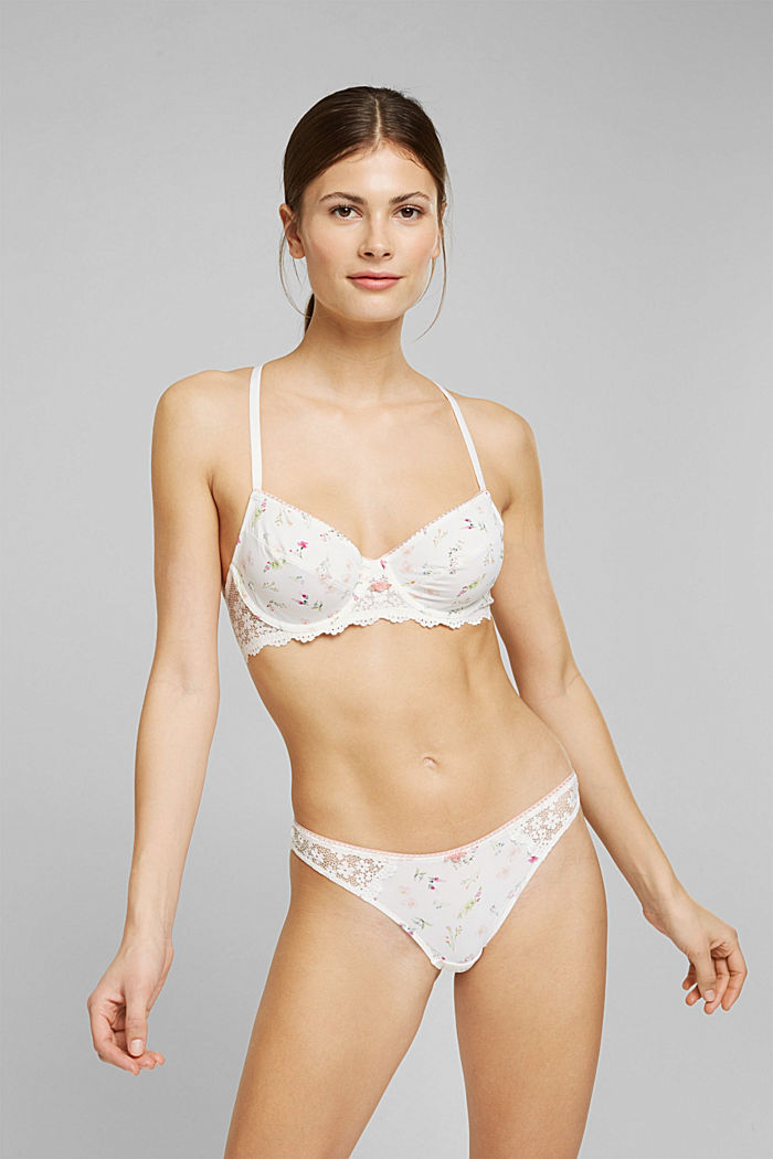 Recycled: Unpadded underwire bra with lace, OFF WHITE, overview