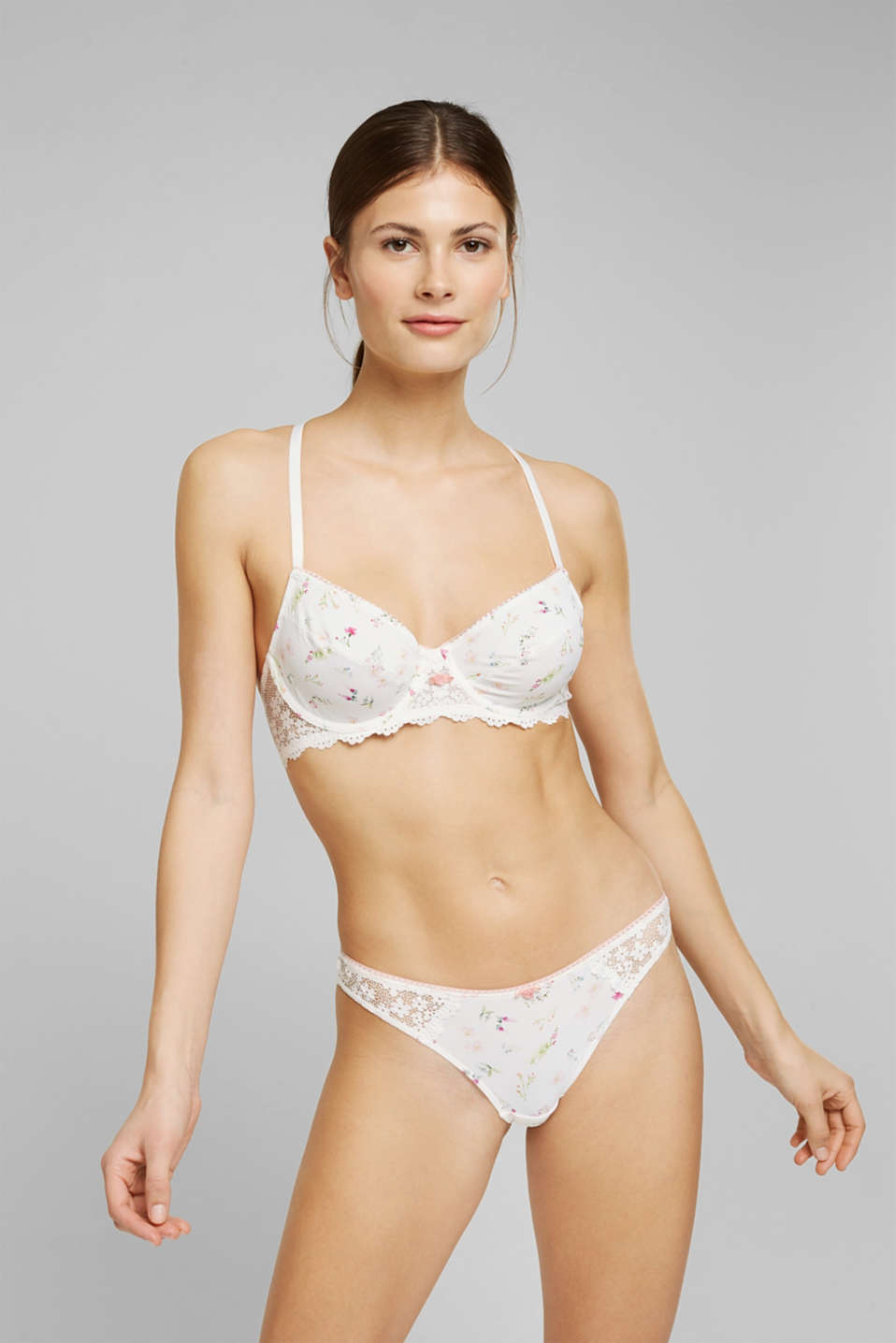 Esprit - Recycled: Unpadded underwire bra with lace