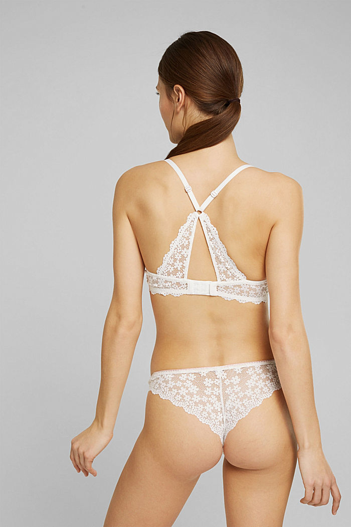 Recycled: Unpadded underwire bra with lace, OFF WHITE, detail image number 1