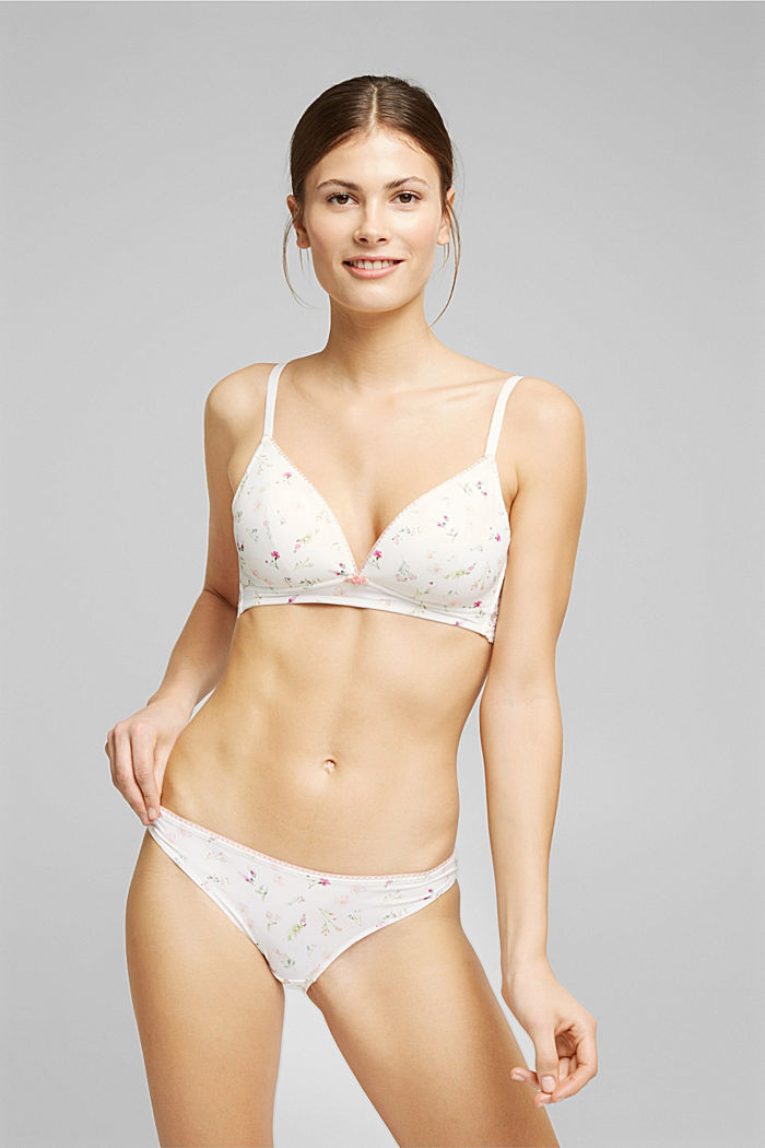 Recycled: Padded, wireless bra trimmed with lace, OFF WHITE, detail image number 0
