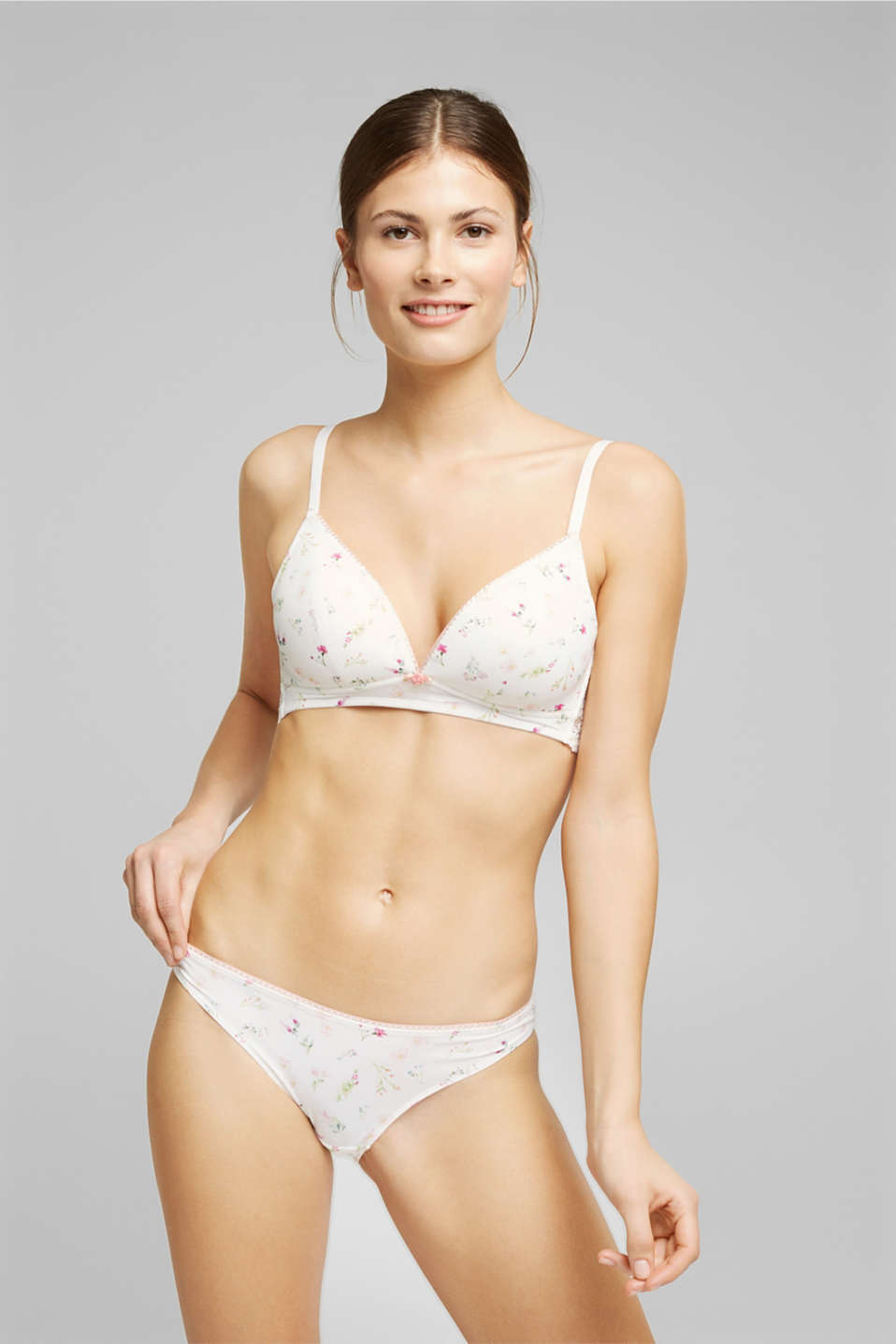 Esprit - Recycled: Padded, wireless bra trimmed with lace
