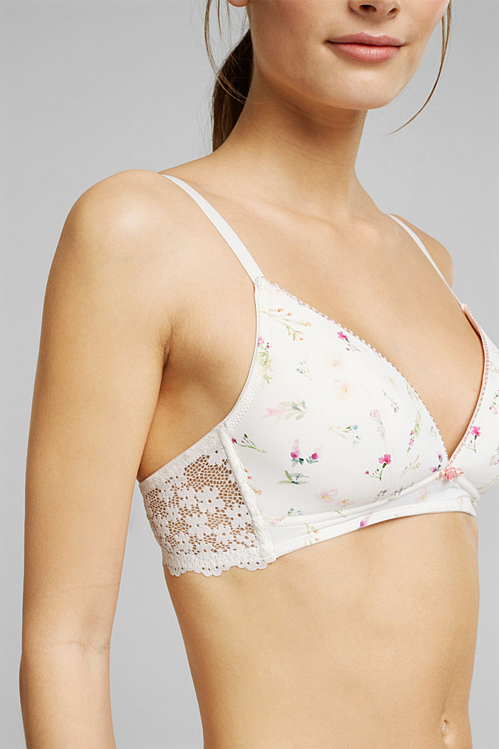 Recycled: Padded, wireless bra trimmed with lace, OFF WHITE, detail image number 2