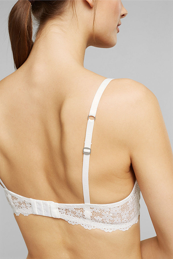 Recycled: Padded, wireless bra trimmed with lace, OFF WHITE, detail image number 3