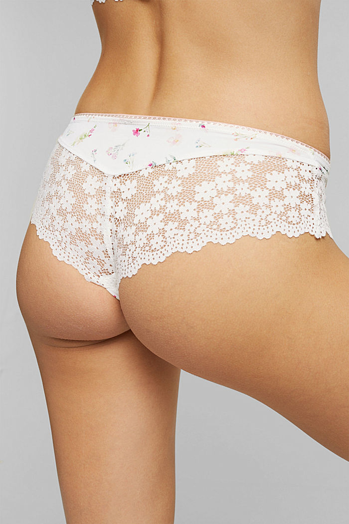 Recycelt: Hipster-Shorts mit Spitze, OFF WHITE, detail image number 3