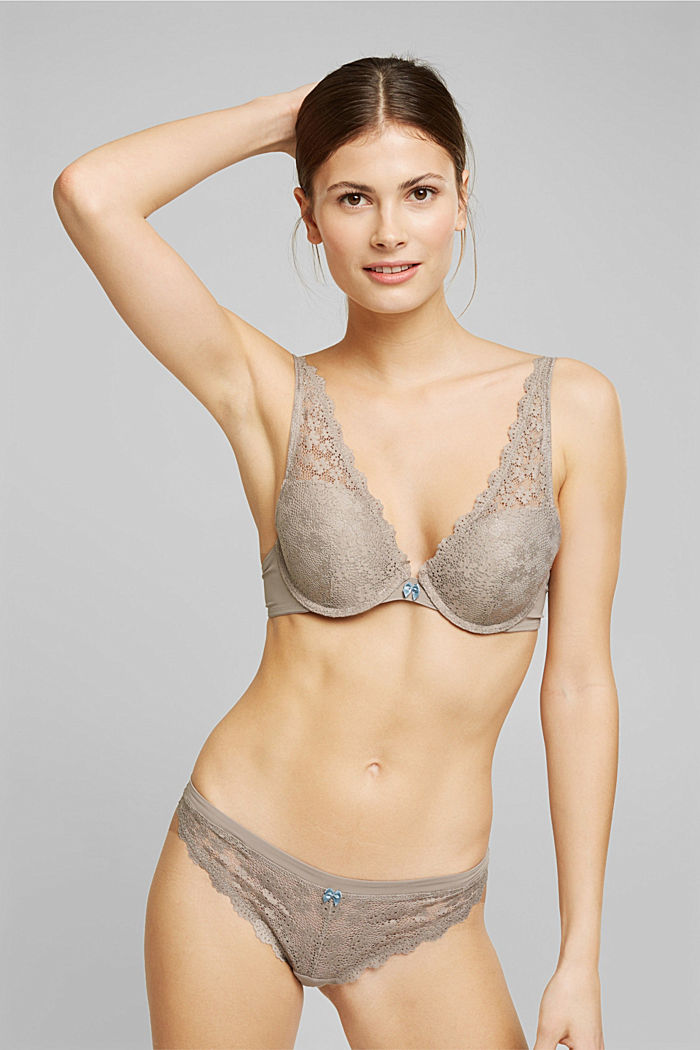 Recycelt: Push-Up-BH mit Spitze, LIGHT TAUPE, detail image number 0