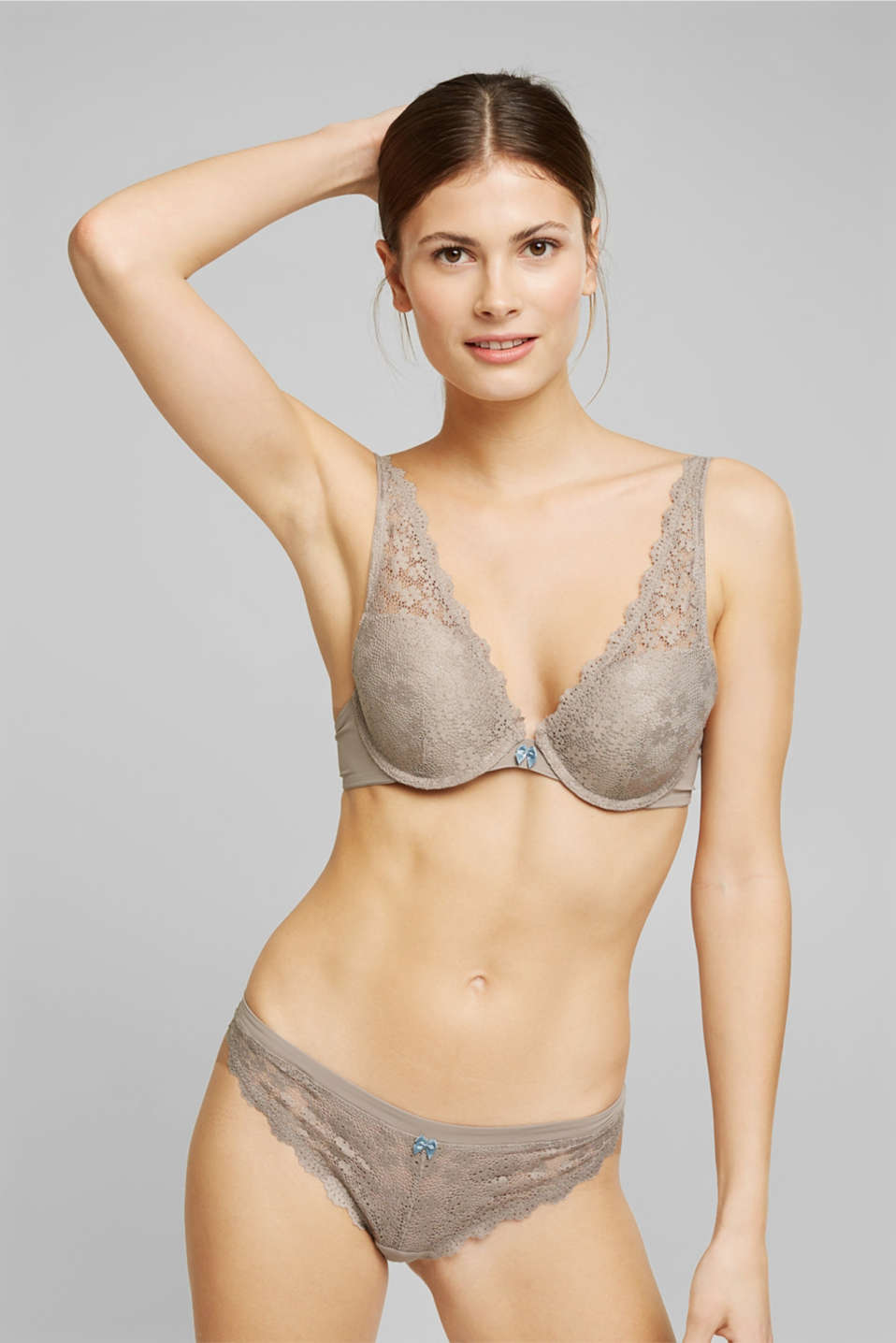 Esprit - Gerecycled: push-up-bh met kant