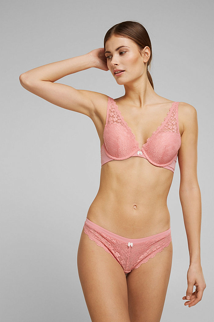 Recycelt: Push-Up-BH mit Spitze, CORAL, detail image number 0
