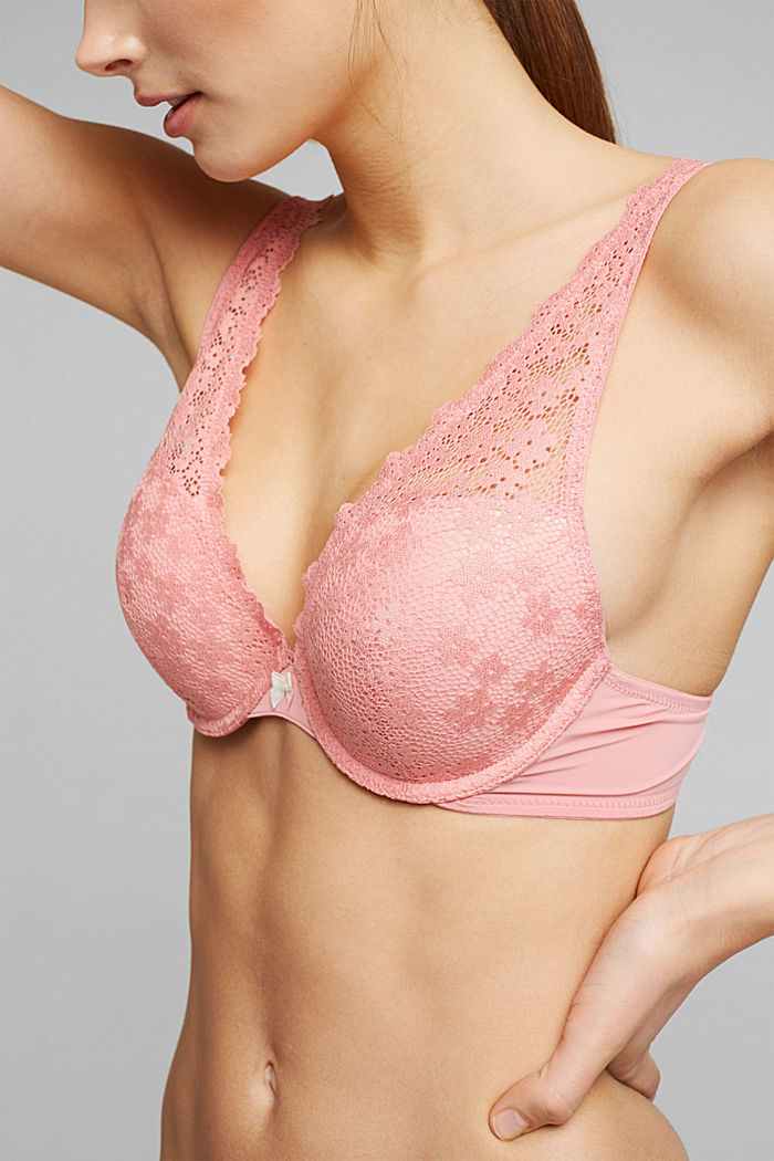 Recycelt: Push-Up-BH mit Spitze, CORAL, detail image number 2