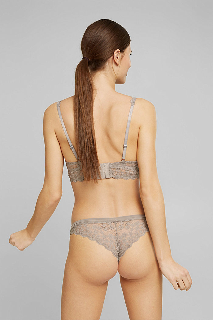 Recycled: padded underwire bra with lace, LIGHT TAUPE, detail image number 1
