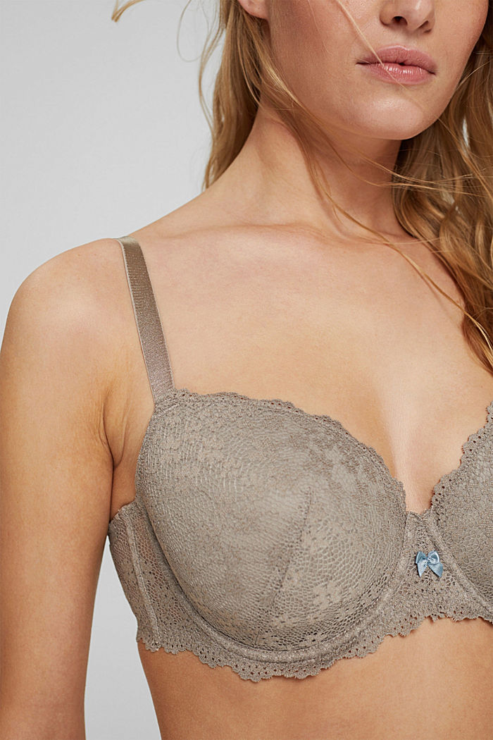 Padded underwire bra in lace for big cups, LIGHT TAUPE, detail image number 3