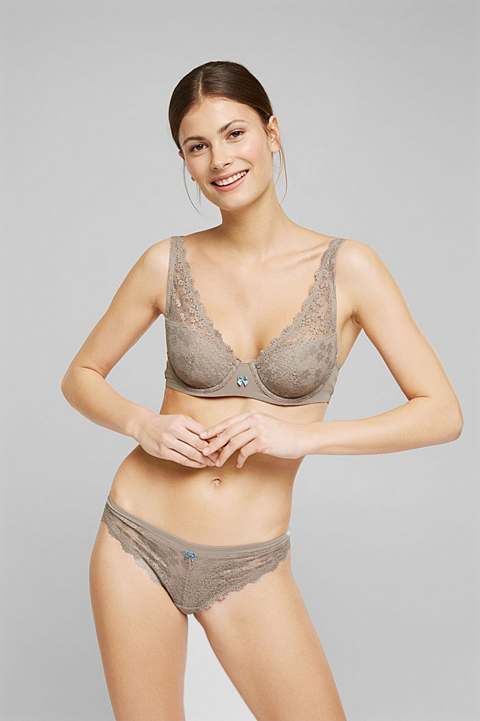 Recycled: padded underwire bra with lace, LIGHT TAUPE, detail image number 0