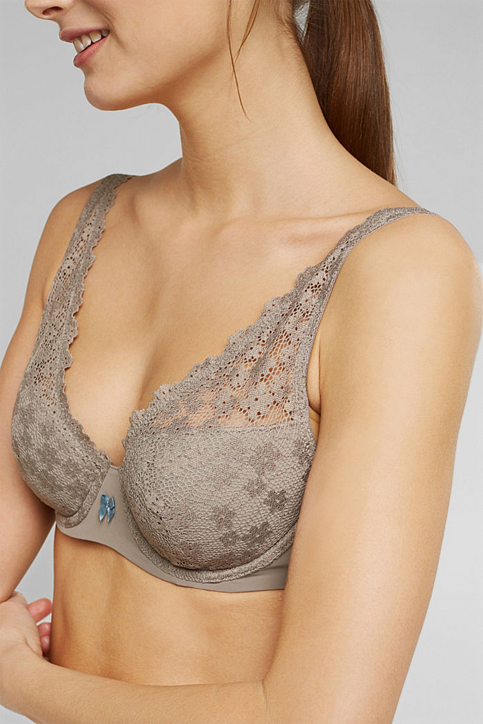 Recycled: padded underwire bra with lace, LIGHT TAUPE, detail image number 2