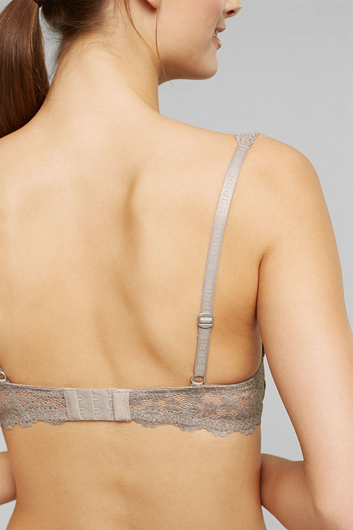 Recycled: padded underwire bra with lace, LIGHT TAUPE, detail image number 3