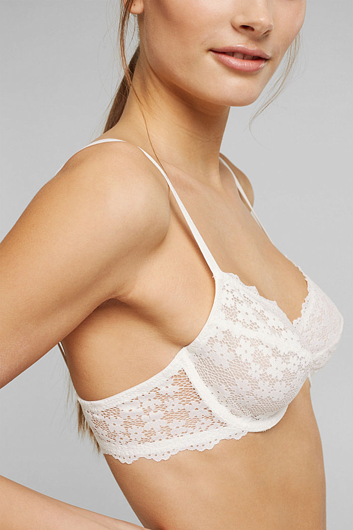 Recycled: underwire bra with lace, OFF WHITE, detail image number 2