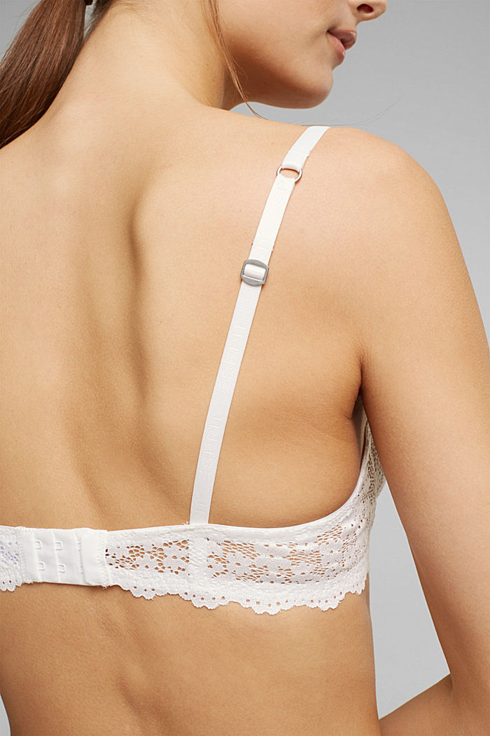 Recycled: underwire bra with lace, OFF WHITE, detail image number 3