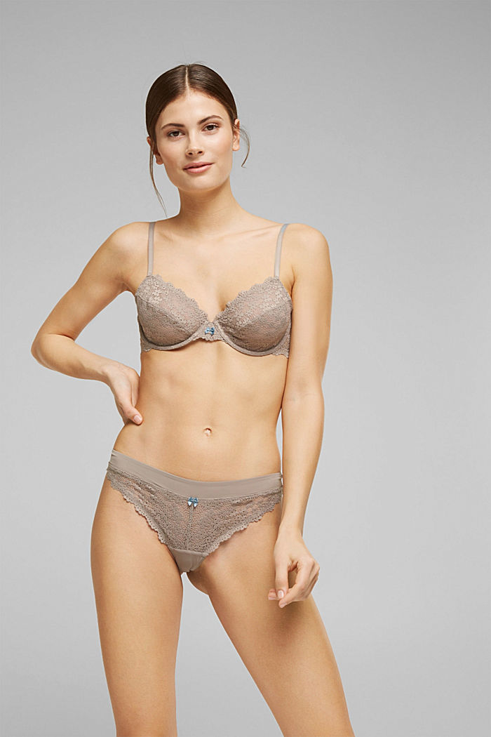 Recycled: hipster thong with lace, LIGHT TAUPE, detail image number 0