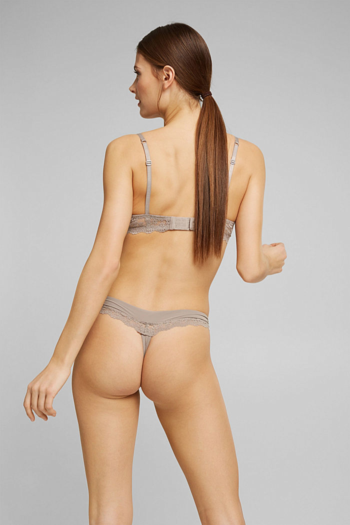 Recycled: hipster thong with lace, LIGHT TAUPE, detail image number 3