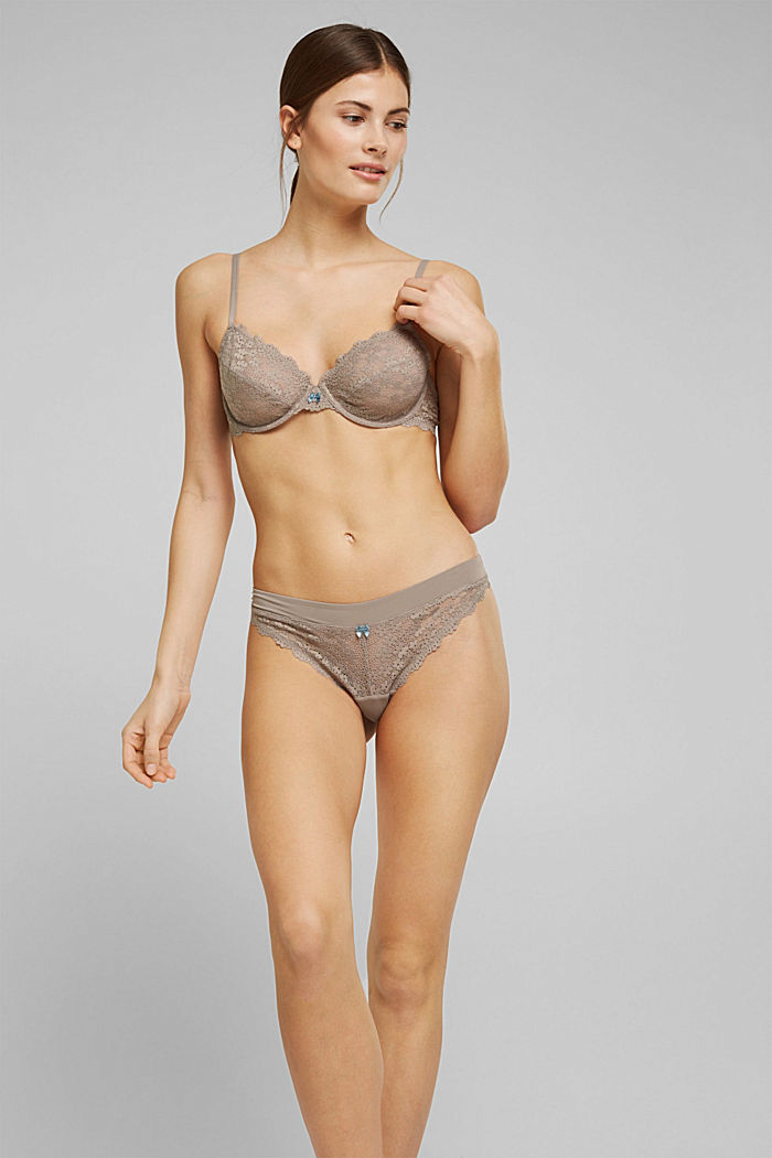 Recycled: hipster thong with lace, LIGHT TAUPE, detail image number 1