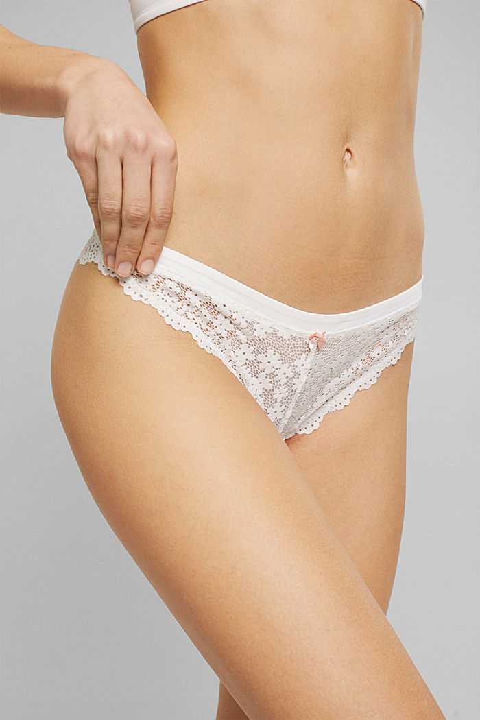 Recycled: hipster briefs with lace, OFF WHITE, detail image number 1