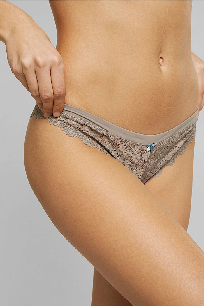 Recycled: hipster briefs with lace, LIGHT TAUPE, detail image number 1