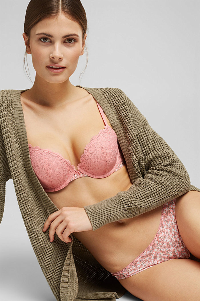 Recycled: Padded push-up bra with lace