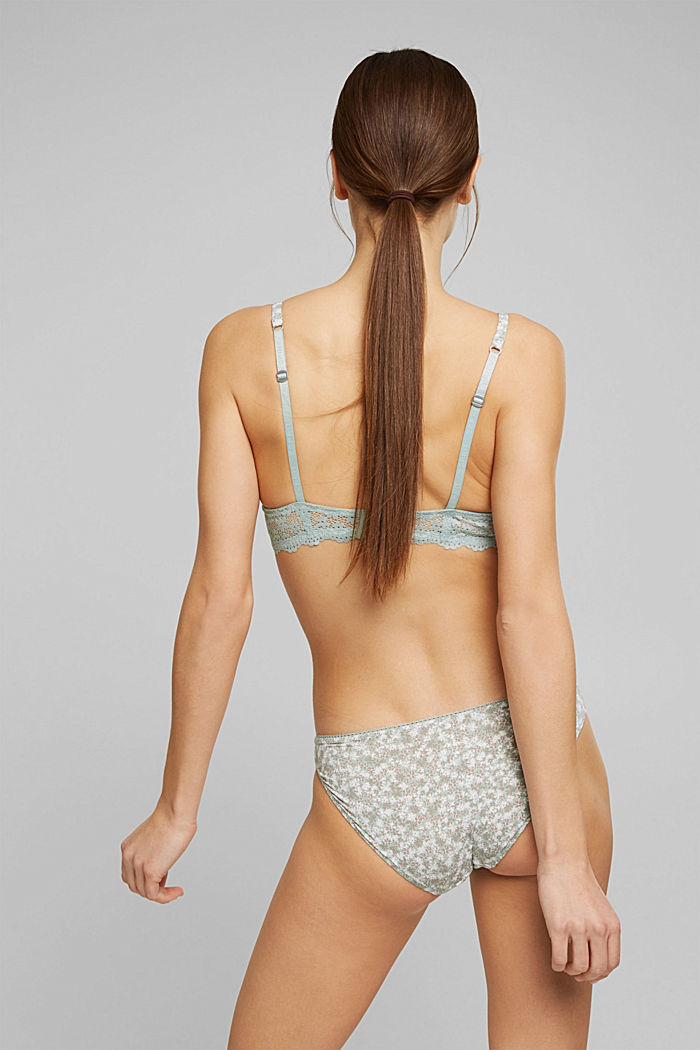 Recycled: padded underwire bra with a print, TEAL GREEN, detail image number 1
