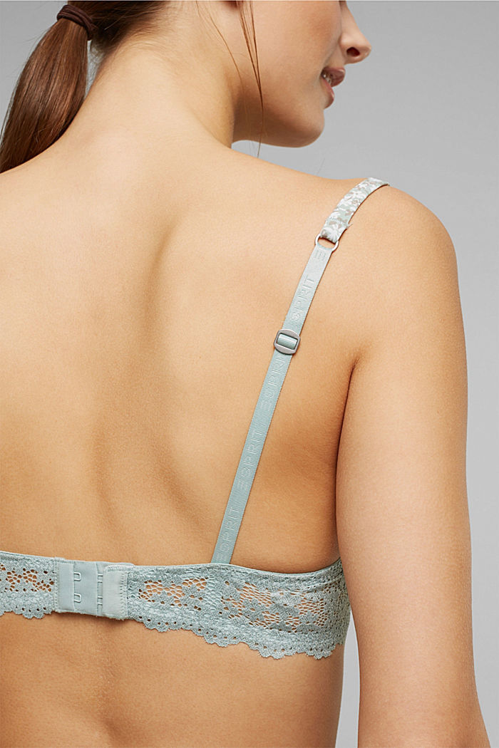 Recycled: padded underwire bra with a print, TEAL GREEN, detail image number 3