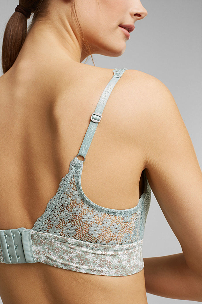 Recycled: Padded, wireless bra trimmed with lace, TEAL GREEN, detail image number 3
