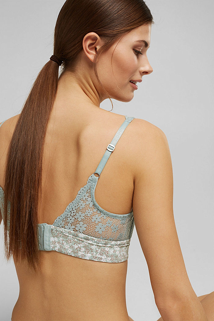 Recycled: Padded, wireless bra trimmed with lace, TEAL GREEN, detail image number 4